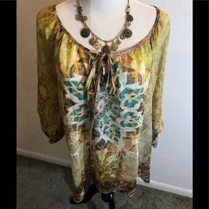 Dress Barn Gold Beaded Top, size 14/16
